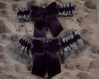 Eggplant Purple Plum Gray Satin Gray Lace Wedding Bridal Garter Toss Set