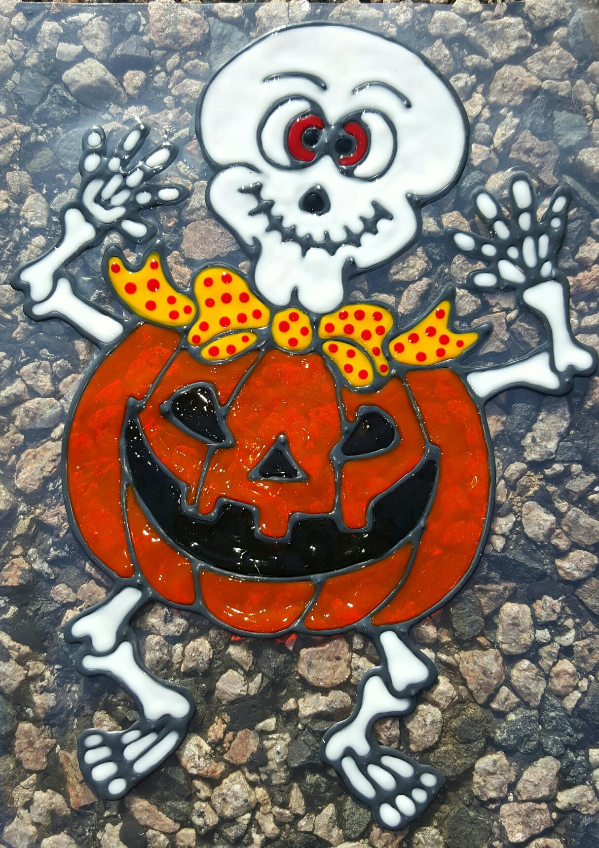 skeleton pumpkin halloween stained glass window cling - Window Clings Halloween
