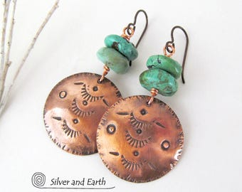 Copper & Turquoise Earrings, Hand Stamped Copper Earrings, Earthy Rustic Boho Tribal Southwestern Jewelry, Southwest Earrings Turquoise