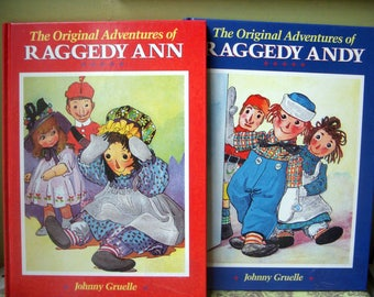 The Original Adventures of Raggedy Ann Andy, Johnny Gruelle, Oversized Vintage Books, Hardcover, 1988, Set of Two, Derrydale