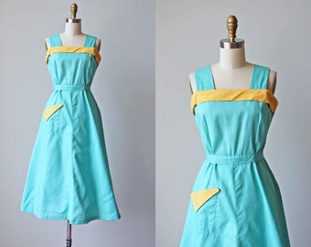R E S E R V E D Vintage 1940s Dress - 40s Pinafore Dress - Jadite Green Mustard Deco Cotton Sundress M L - Playing for Keeps Dress