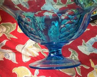 Vintage Turquoise Blue Fruit Bowl
