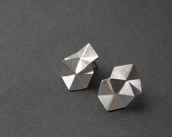 Geometric Sterling Silver Earrings, Geometric Stud Earrings, Hexagon Drop Earrings, Silver Drop Earrings, Minimalist Earrings, Statement