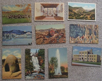 10 Assorted Linen Postcards of NM, AZ, Fair to Very Good Condition
