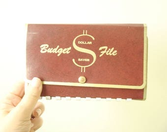 Dollar Saver Budget File, vintage budget tracker folder, cash envelopes & expense record sheets, household expense ephemera, dave ramsey