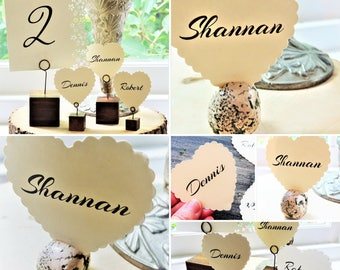 WEDDING PLACE CARD Placecards Placement Cards Escort Card Seating Cards Scalloped Heart Name Printed Rustic Flat Wedding Table Decorations