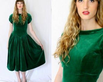 1940s Emerald Green Drop Waist Velvet Dress Vintage - Size 4