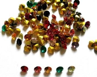 200 pcs Small Acrylic Crystal fake diamond jewelry findings size 5 mm mix colors