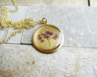 Real Pressed Flower Necklace Botanical Jewelry Botanical Plant Real Pressed Flowers Resin Jewelry