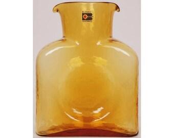 Vintage BLENKO Glass Water Botlle No 384 Topaz Wheat or Amber Block B Label