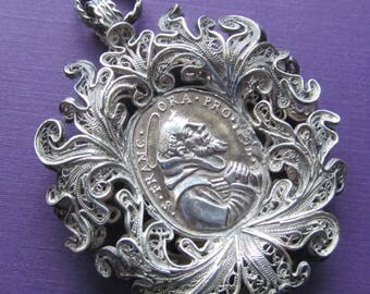 Saint Anthony Of Padua St Francis Silver Filigree Antique Religious Medal Pendant Circa 1700