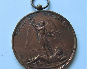 Saint Michael The Archangel Antique Religious Medal Dated 1889