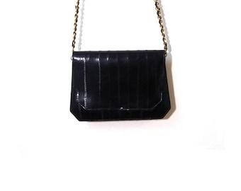 10% OFF Vintage 80s Minimalist Black Eel Skin Leather Gold Chain Mini Shoulder Purse glam vanity mirror designer goth fashionista preppy