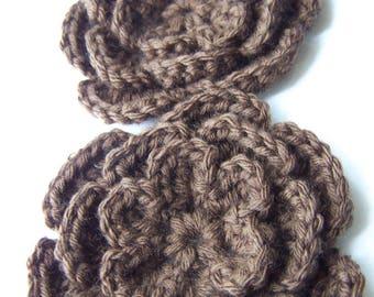Crochet flower 3 inch dark brown chocolate brown set of two flower