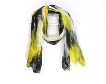Cobweb Felted Scarf, Handmade Wool Winter Scarf, Black White Yellow, Long Womens Mens Unisex Scarf, Winter Fashion Accessory, Gift for Her