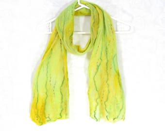 Cobweb Felted Scarf, Handmade Wool Winter Scarf, Bright Green Yellow, Long Womens Scarf, Winter Fashion Accessory, OOAK Gift for Her