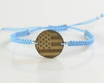 Gift for men.US Flag Bracelet for men. Mens gift. Mens bracelet. Mens wood bracelet. Anniversary gifts for men.Wood bracelet