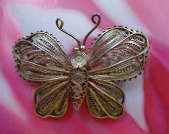Vintage Silver Fillagree Butterfly Brooch
