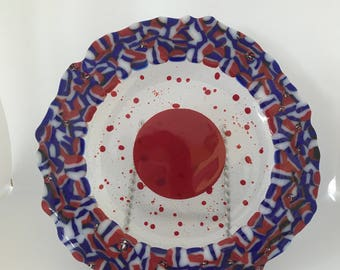 Fused Glass Plate in Red, White and Blue