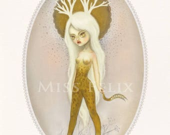 Golden Deer - signed 8x10 Fine Art Print - Pop Surrealism lowbrow art by KarolinFelix - open edition, unframed