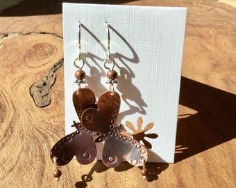 Copper Butterfly earrings with a little bling.