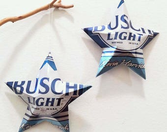 Busch Light or Kevin Harvick #4 NASCAR or Busch NA Beer Stars Ornaments Aluminum Can Repurposed
