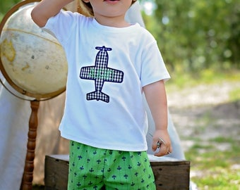 Airplane Outfit - Plane Shorts Set - Airplane Birthday Outfit - Airplane Shirt - Applique Shirt - Boy Outfit - Time Flies Birthday Outfit