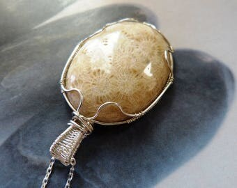 Corall fossil Sterling silver pendant, wire wrapped necklace,  OOAK jewelry, gift for mother, gift for grandmother, anniversary gift