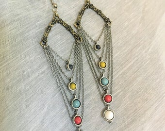 Silver and Antiqued Gold Chain and Beaded Earrings