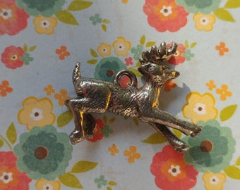 Deer Charm- Vintage- Antique Silver plated- Buck- Stag- White Tail Deer- Wildlife Charms