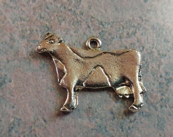 Cow Charm- Vintage- Silver plated- Farm Animals- Dairy Cows