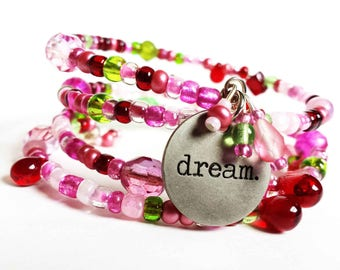 Beaded dream bracelet, Memory wire charm bracelet