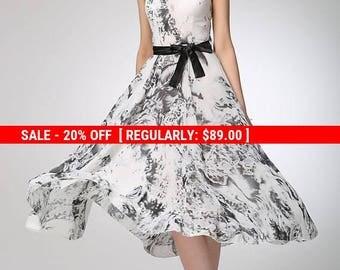 Prom dress, elegant dress, casual dress, chiffon dress, gray dress, printed dress, dresses for women, sleeveless dress, fitted dress (1249)