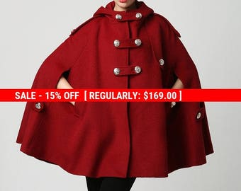 Cape, wool cape, military jacket, red cape coat, hooded cloak, cape jacket, swing coat, capes for women, plus size cape, custom made 1130