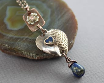 WHILE SUPPLIES LAST - Vintage bronze heart Y-necklace with lapis heart and drop pendant, Mix metal necklace, Vintage necklace, Lapis pendant