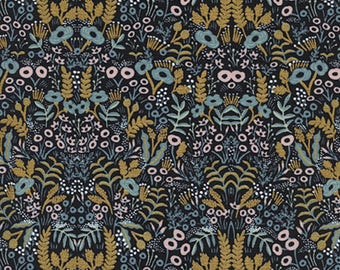 Cotton + Steel - Rifle Paper Co. - Menagerie - Tapestry in Midnight Metallic
