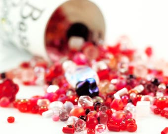 Strawberry Fields Bead Mix - A Soup of Japanese Seed Beads and Czech Pressed Glass Beads