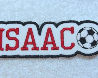 Name Patch with Soccer Ball Personalized Single Name Patch Fabric Embroidered Iron On Applique Patch MADE TO ORDER