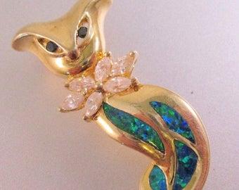SHIPS 6/26 w/FREE Jewelry Vintage Opal White Topaz Sapphire Sterling Vermeil Brooch Pin Signed Fine Jewelry Jewellery