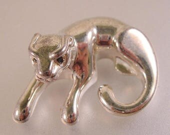 SHIPS 6/26 w/FREE Jewelry Vintage Panther Cougar Pendant Sterling Silver & Blue Sapphire Eyes Signed OTC
