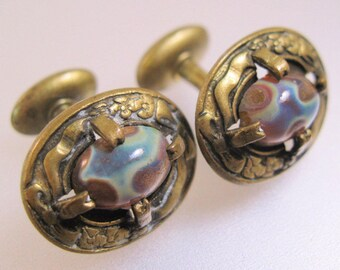 Antique Victorian Era 1800s Dragon's Egg Dragon's Breath Cufflinks Cuff Links Antique Jewelry Jewellery