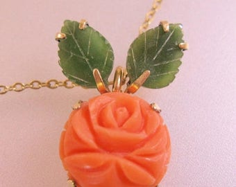 SALE & FREE SHIPPING Krementz Salmon Coral and Jade Hand Carved Rose Pendant Necklace Vintage Jewelry Jewellery