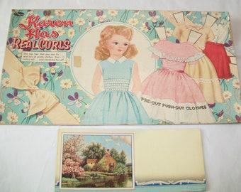 Vintage Doll Box Cover, Vintage Ink Blotter, Karen Has Real Curls, 1950s