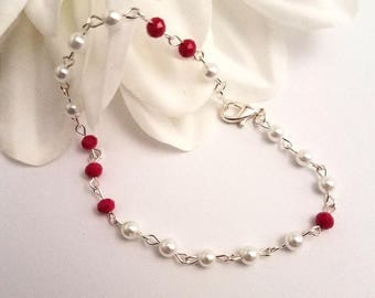 Handmade Beaded Jewelry/Beaded Bracelets/Wire Wrapped Jewelry/Fashion Jewelry/Gift Ideas for Her/Beaded Chain/Pure Elegance/Gift for Her