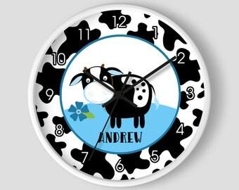 Dairy Cow Blue Farm Theme Barnyard Cow Nursery Wall Clock / Dairy Farmers / Holstein Cows