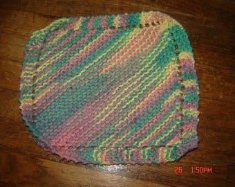 Hand Knit Dishcloth 100% Cotton Homemade Washcloth Sherbet