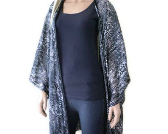 Satin chiffon floral  fringe Kimono with wide sleeves-Black, gray, white-oversize-plus size kimono with fringes