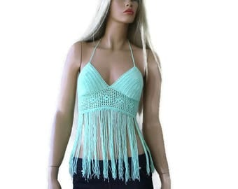 Aqua Green -Mint Green Bohemian crochet bustier top/Bralette with fringes-Festival crochet halter top -Size Small/Medium