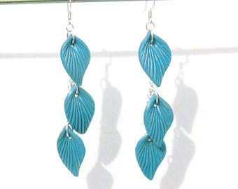 Turquoise Leaf Dangle Earrings - Silver Plated - 3.5 inch long - blue and silver - botanical nature inspired