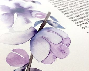 Unique Watercolor Ketubah Commission painting - Flower garlands - Jewish weddings marriage certificate